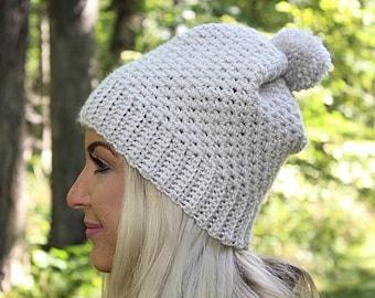 Beige Slouchy Hat, Tan Slouchy Hat, Cream Slouchy Hat, Beige Hat, Beige Beanie, Tan Winter Hat, Pom Pom Hat, Tan Crochet Hat, THE COVINGTON