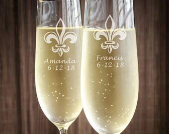 Personalized Fleur De Lis Engraved Wedding Toasting Flutes - Wedding Toasting Flutes - JM7339840-CF45520