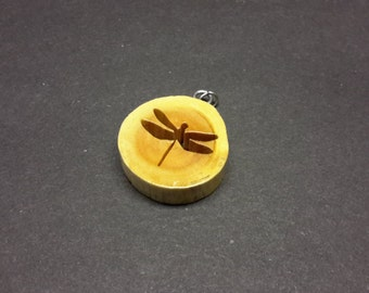 Dragonfly Necklace made from Maple - hand cut with scroll saw - FREE SHIPPING