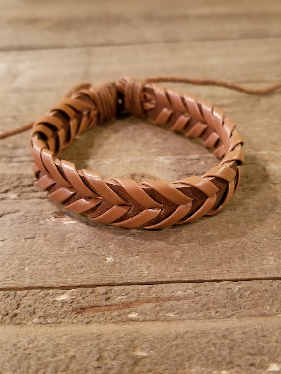 Light Brown Leather Hand Weaved Adjustable Bracelet Native American Style Fashion Cuff Boho Hippie (B75)