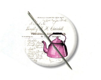 Tea Pot Pink collage needle minder magnet counted cross stitch sewing tool notion wife gift under 10 tea lover gift needlepoint embroidery