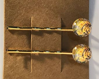 Yellow roses on gold Bobby Pin Set