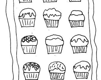 "A Dozen Cupcakes Rug hooking Pattern 21"" x 28"" by Deanne Fitzpatrick"