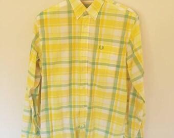 Vintage Fred Perry Medium British Long Sleeve Oxford Shirt Retro Streetwear Button Up Shirt