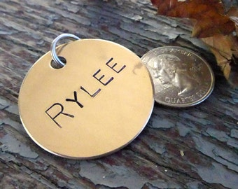 Extra Large (XL) tag for big boned dog! Custom hand stamped on bronze, personalized pet id name collar.