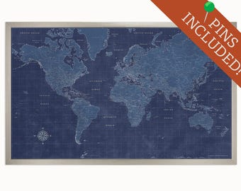 Modern Framed World Map - Push Pin Travel Map - 34x26 - Personalized World Map - Personalized Map - Home Decor