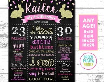 Bunny Birthday Chalkboard, Milestones, Glitter, Gold, Pink, Polka Dots, First Birthday, Any Age, Printable, Digital File