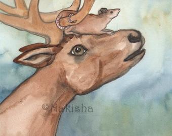 Deer Mouse  - Original Art  Watercolor Deer Painting