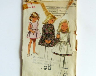 Butterick Vintage Sewing Pattern 5094 Girls Dress And Pinafore Tunic Pants 1960's