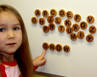 Wooden toy,  letter with magnets, montessori alphabet magnets, children wood toys, waldorf , educational game, kids christmas gift