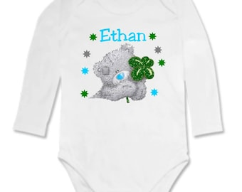 Baby Teddy bear and clover personalized with name Bodysuit