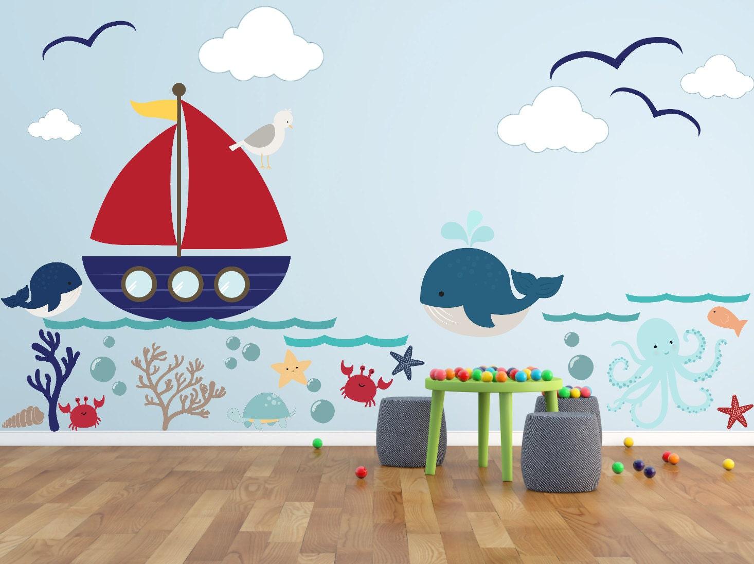 Kinder Wandtattoos Unterwasserwelt Wal Oktopus Meer