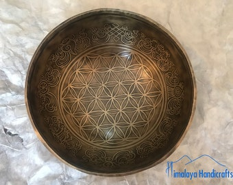 """8"""" Tibetan Singing Bowl Made in Nepal - Flower of Life Bowl Mantra Carved Singing Bowl with free Cushion and Mallet"""