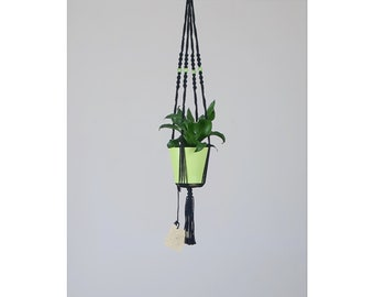 With flower pot, small hanging macrame, black and Green: 70 cm plant holder