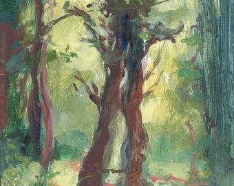 Tree painting: Growing Up Together 1 Original Oil Painting