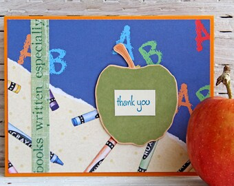 Teacher Thank You Card with Apple and Crayons - Teacher Appreciation Day Greeting Card - Handmade Notecard for End of School Year