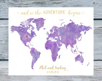 Purple world map etsy violet wedding guestbooks purple wedding guest book world map guest book world map wedding wedding guestbook gumiabroncs Image collections
