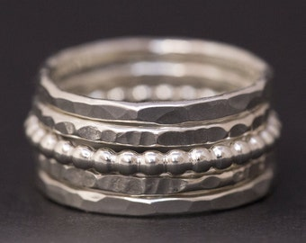 Sterling Silver Stacking Rings - Set of 5 Thin Stack Rings
