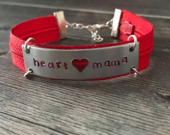 Personalized Zipper Heart Mama Bracelet - CHD Awareness