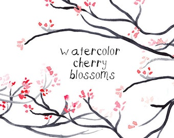 Cherry Blossom Clip Art Pink Cherry Blossoms Clipart Flowers Digital Download instant download cherry printable Sakura