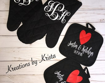 Personalized set of 4 pot holders