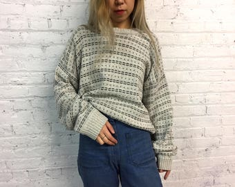 Vintage grey crewneck knit sweater / minimalist print grandpa sweater / oversized neutral all over pattern comfy sweater