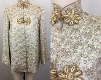 Vintage 30s 40s Japanese Gold Floral Brocade Jacket Asian