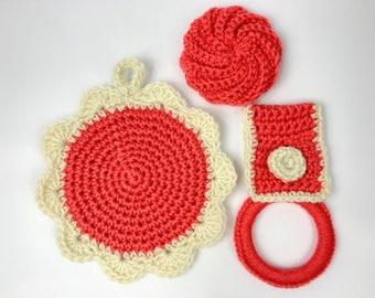 Crochet hot pads, kitchen towelholder, kitchen scrubby, round, kitchen potholder, handmade, hanging, acrylic yarn, salmon, coral