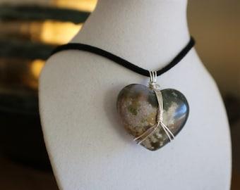 Jasper Heart Necklace .935 argentium silver