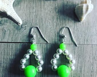 Neon and pearl earrings