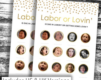 Instant Download* HILARIOUS Baby Shower Game - Gold LABOUR or LOVIN' - Various Packs - Boy, Girl, Unisex