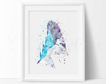 Elsa's Castle, Frozen Disney Princess Baby Girl Nursery Art, Watercolor Art, Wall Decor, Modern Baby Room Print, Wall Art Not Framed No. 124