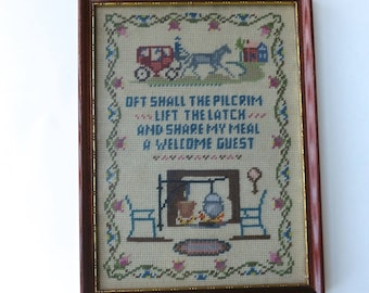 Vintage Needlepoint Hearth and Home Scene Framed Needlepoint Oft Shall the Pilgrim