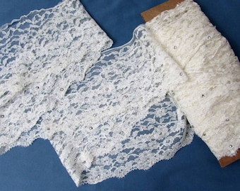 """White Lace with rhinestones - reclaimed for craft re-use - 5.5"""" wide - 10+ yards"""
