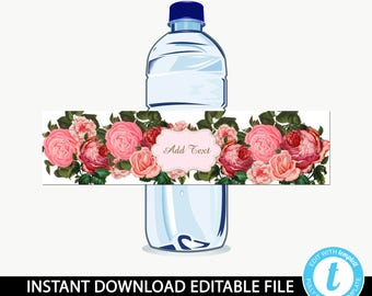 floral water bottle wrapper/printable water bottle/water bottle Instant download/baby shower/fruit juice wrapper/editable template-Dominque