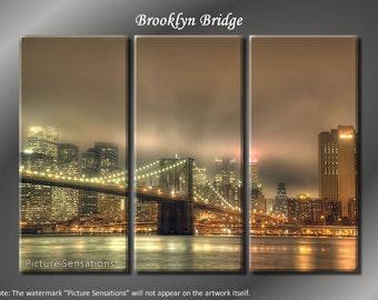 Framed Huge 3 Panel New York Skyline Brooklyn Bridge Giclee Canvas Print - Ready to Hang