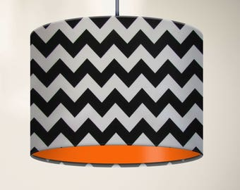 Black and White Zig Zag Chevron with Bright Orange Lining Drum Lampshade