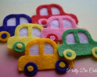 Felt Toy Cars, transport shapes, die cut cars, Die Cut Craft Embellishments