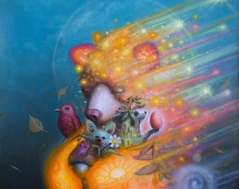 Surreal Bear Print -  Art - Pop surrealism - Oil Painting -  Raccoon -  Bird -  Stars -  Blue -  Orange -  Swirls -  Nature -  Arte.