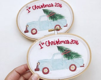 2016 First Christmas Ornament - 4x5 Inch Oval Destash Hoop