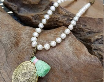 Fresh water pearl locket necklace with tassel