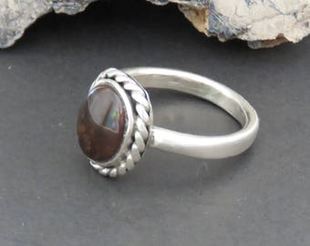 Man's sterling silver ring, fire agate, size 10 1/2, vintage, 8 grams