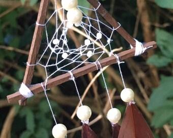 Dream Catcher Ornament, White and Brown mini Dream Catcher, Mini Dream Catcher, Holiday Ornament, Christmas Ornament