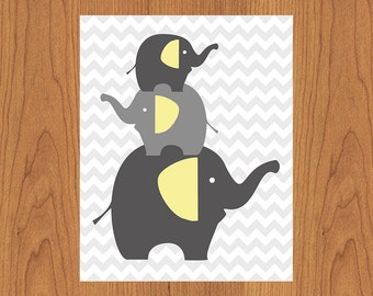 Grey Elephants Nursery Wall Art Decor Yellow Grey Gray Chevron Room Decor Gender Neutral Elephant Family  (2s3)