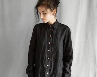 Linen shirt women's black linen shirt for women linen long sleeve shirt black linen blouse loose linen shirt buttoned linen women's clothing
