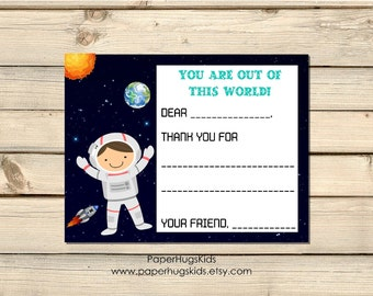 Space themed stationery, astronaut Note Cards, Kids Thank You Cards, Personalized Stationery, Kids Note Cards / Digital File