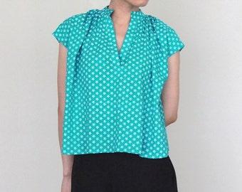 Anjar Blouse-nehru collar /tunic collar crop blouse made with indian block print fabric