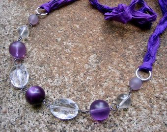 Eco-Friendly Silk Ribbon Statement Necklace - Leap of Faith - Ribbon from Recycled Saris and Vintage Beads in Bright Purple, Lilac and Clear