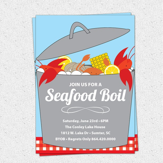 Seafood boil clam lobster crab bake invitation summer like this item stopboris Image collections
