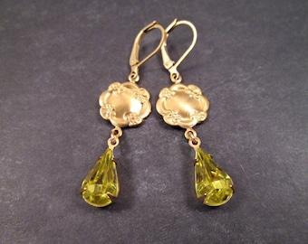 Rhinestone Drop Earrings, Lemongrass Green Glass Stones, Gold Dangle Earrings, FREE Shipping U.S.